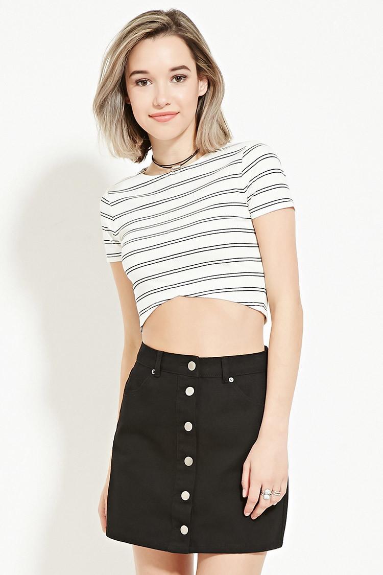 Forever 21 Buttoned Denim Skirt in Black | Lyst