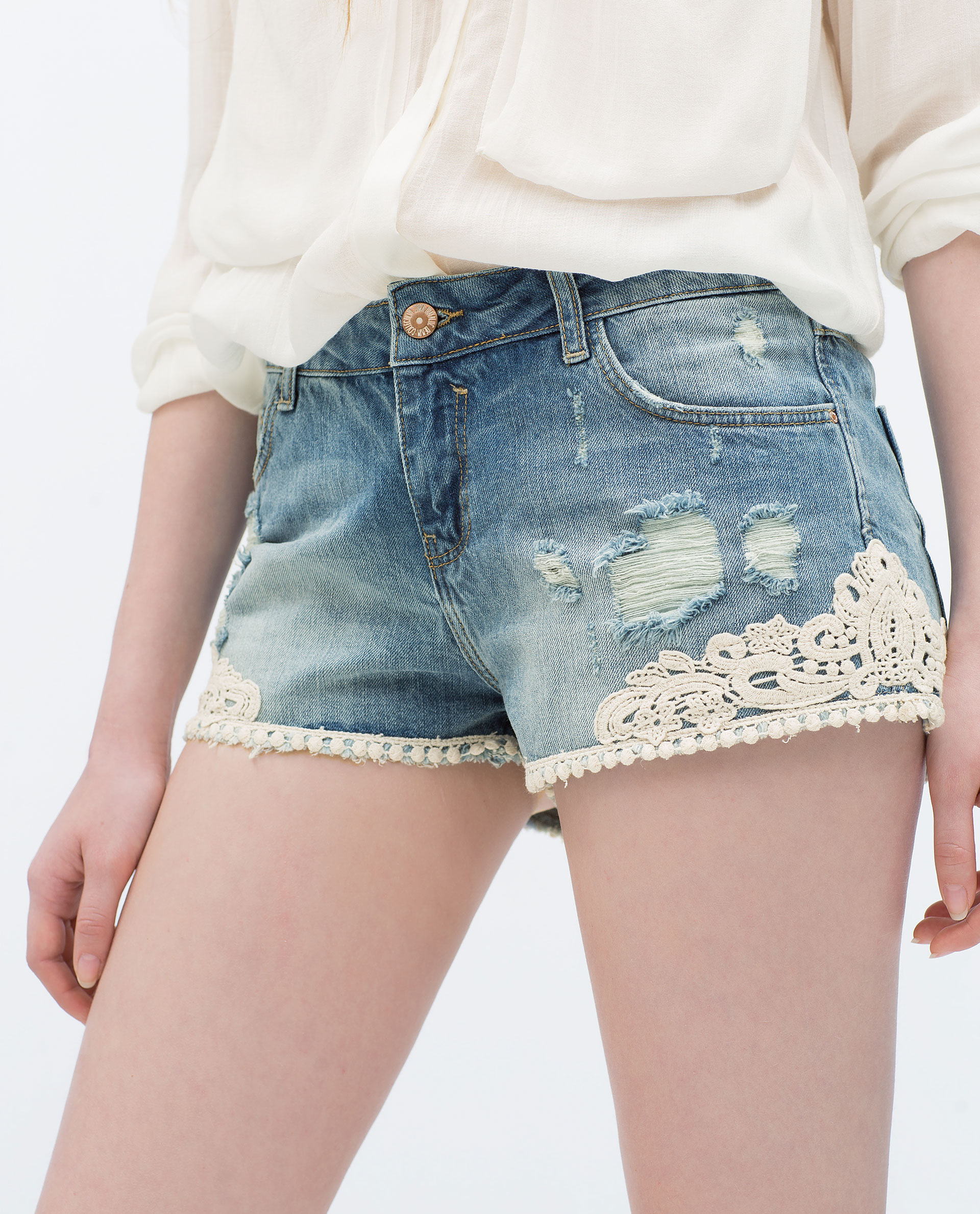 Zara Denim And Crochet Shorts in Blue Lyst