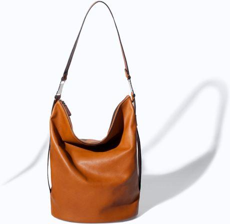 Zara Bucket Bag With Metallic Details In Brown Leather