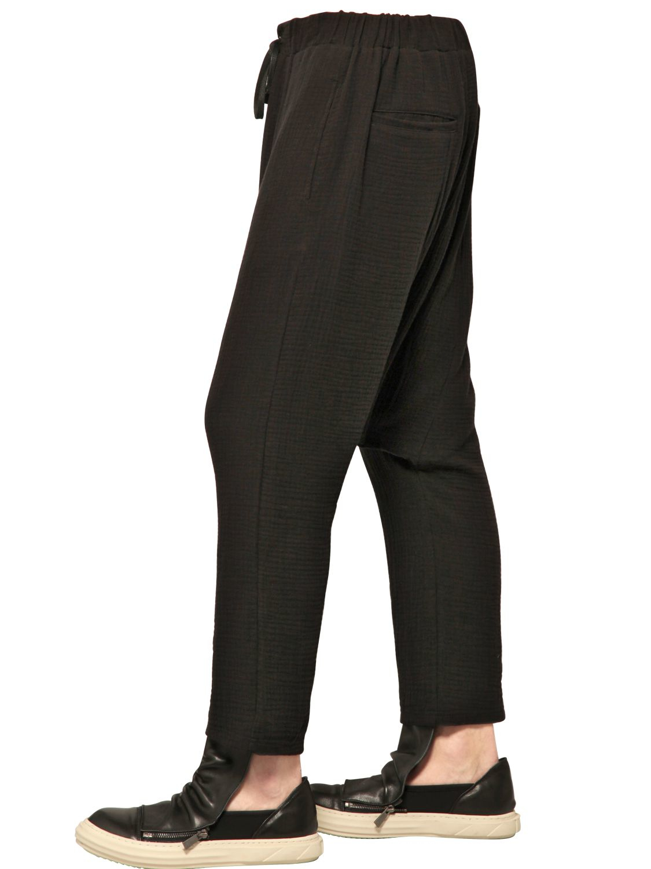 D.gnak Cotton Waffle Canvas Sarouel Pants in Black for Men ...