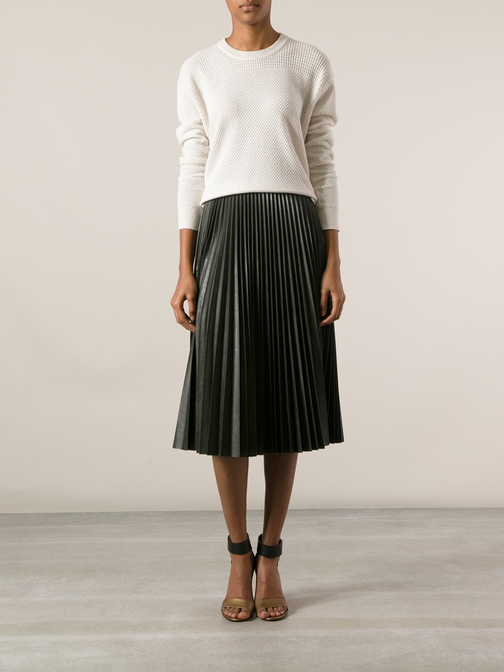 Amen Pleated Skirt in Green | Lyst