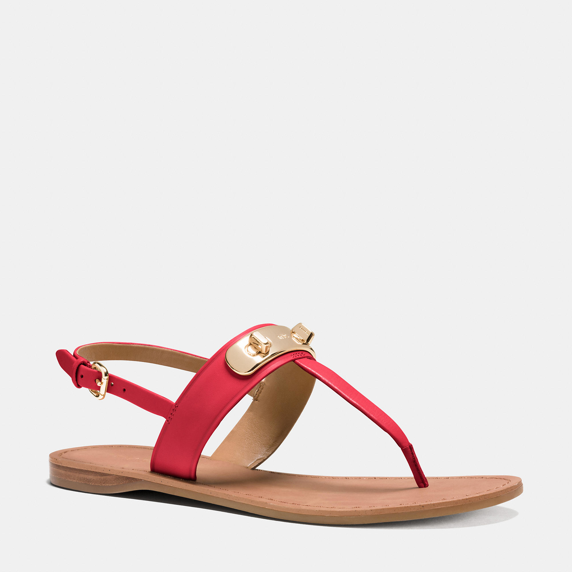 Coach Gracie Swagger Sandal In Red True Red Lyst