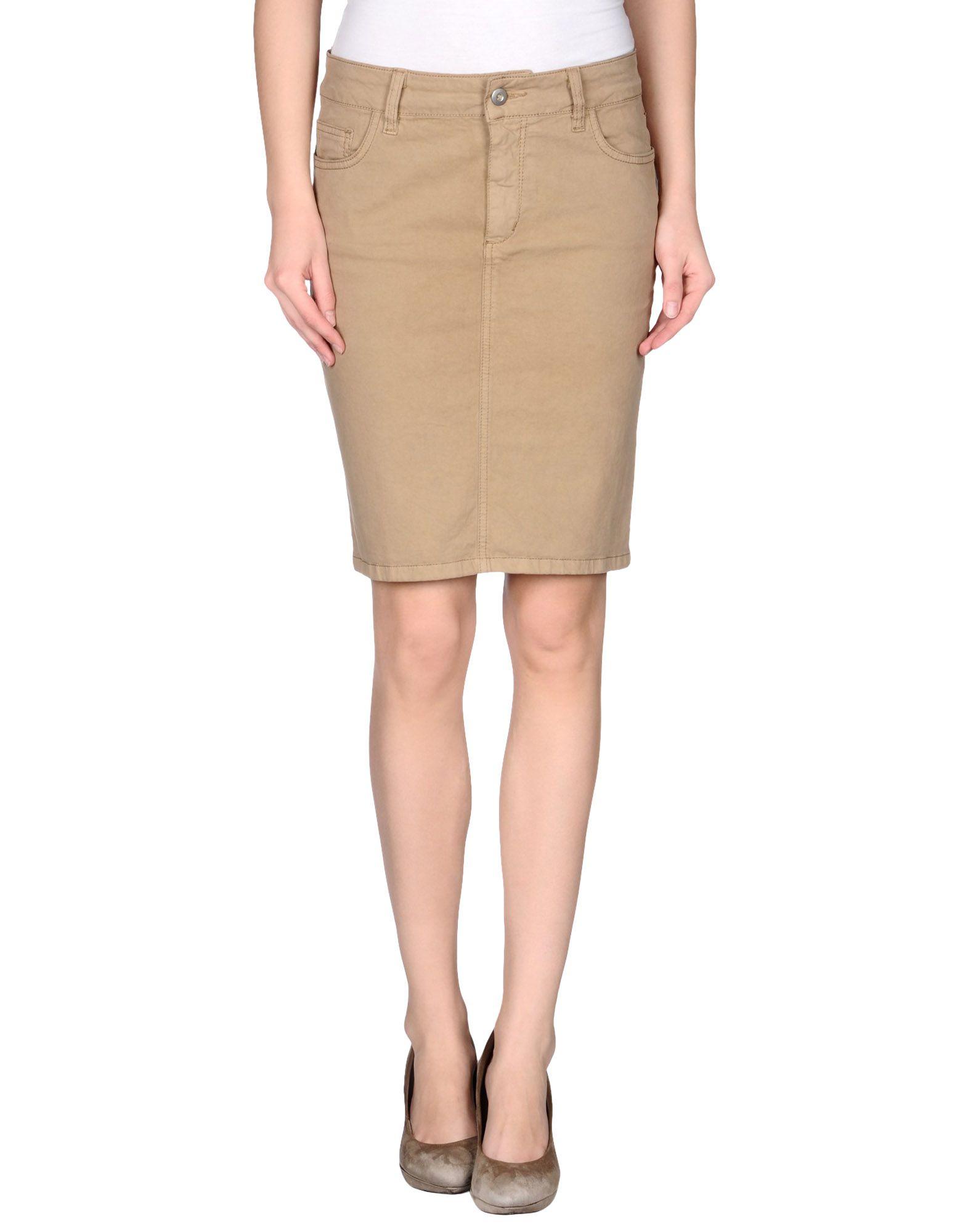 liu jo knee length skirt in beige camel lyst