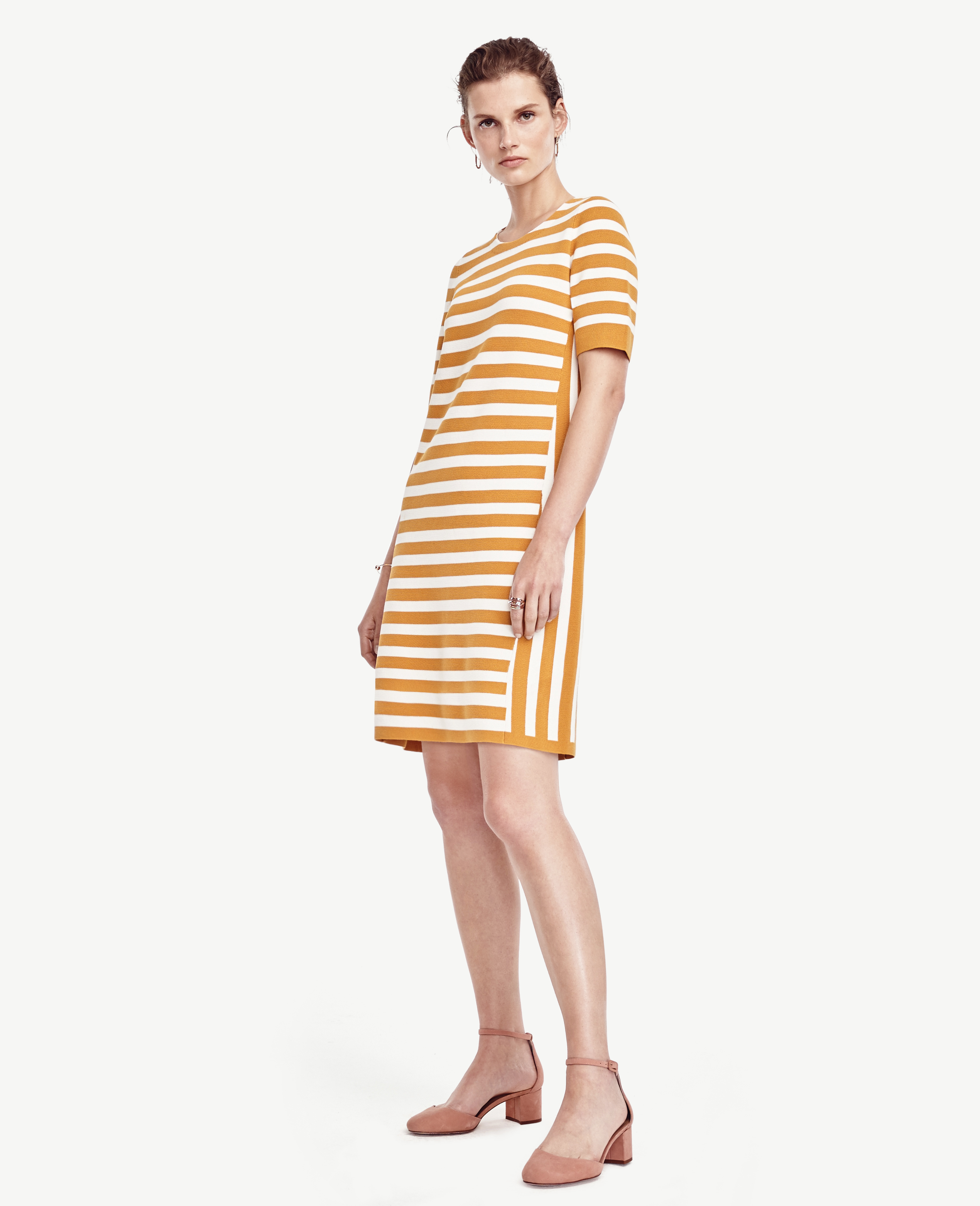 Ann taylor Petite Striped Short Sleeve Sweater Dress in Yellow | Lyst