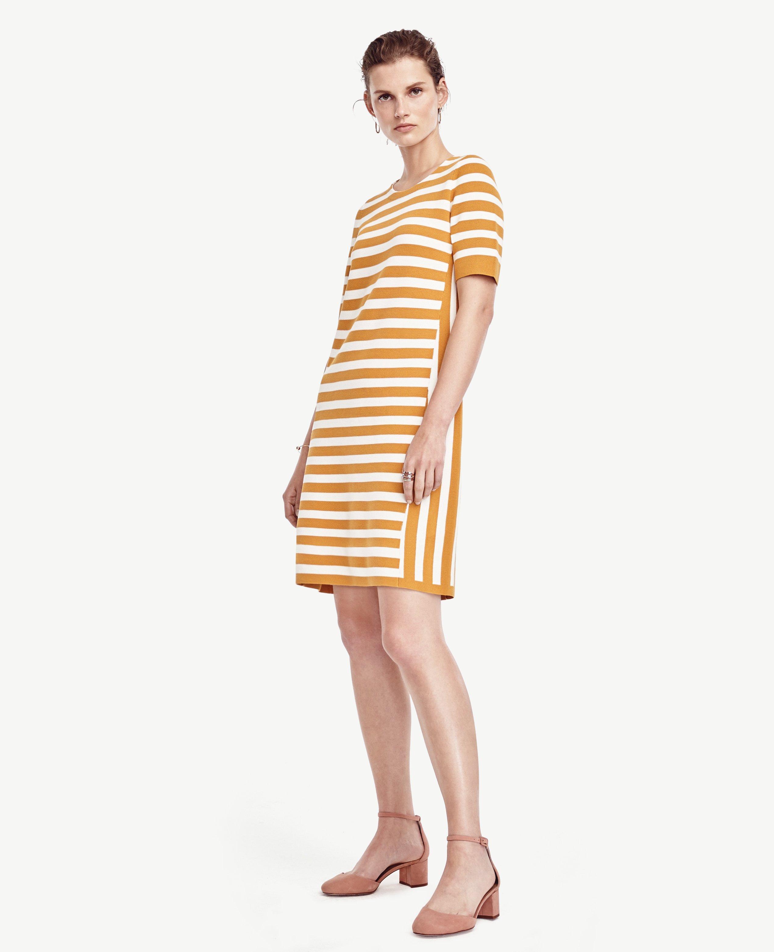 Ann taylor Petite Striped Short Sleeve Sweater Dress in Yellow | Lyst
