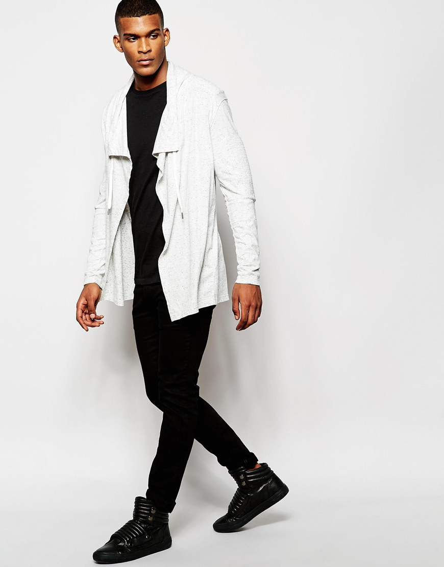 Black kaviar Waterfall Cardigan in White for Men | Lyst