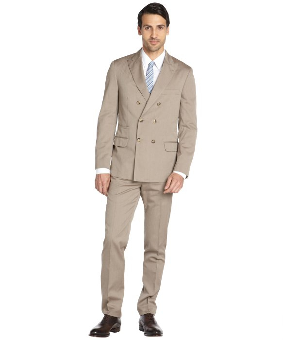 Brunello cucinelli Beige Cotton Double-breasted Suit With Flat ...
