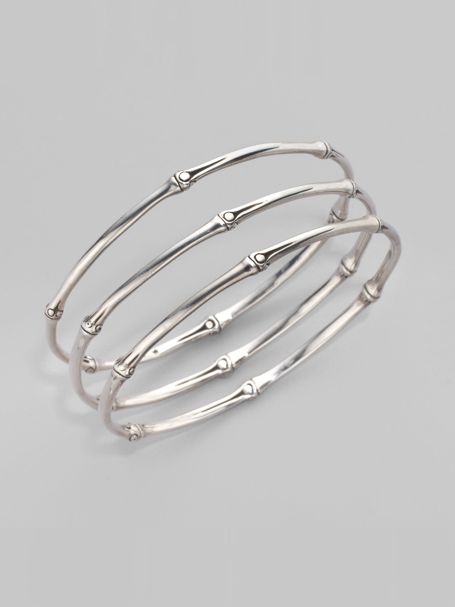 John Hardy Bamboo Sterling Silver Slim Bangle Bracelet Set