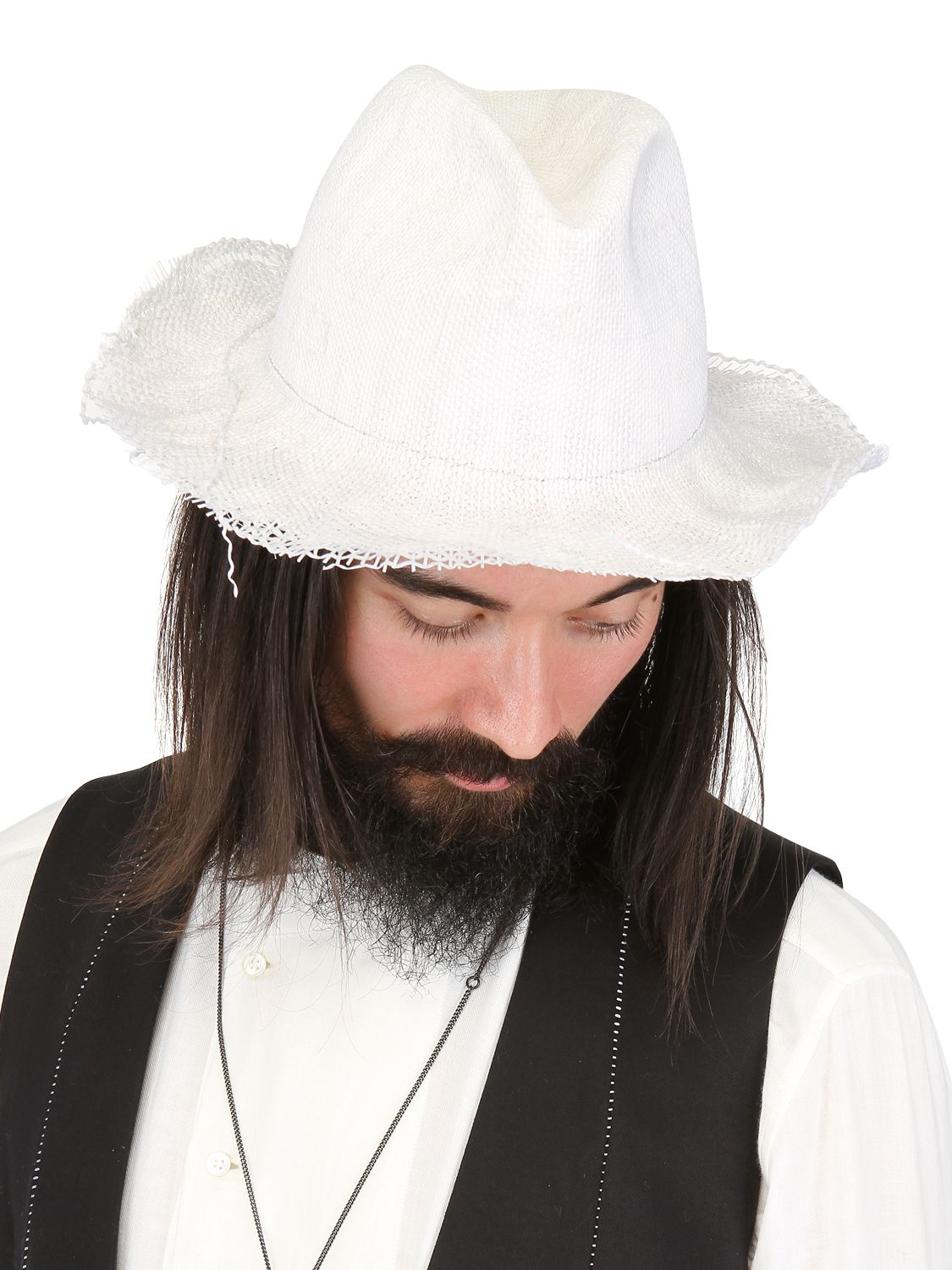 c8dce127196 Lyst - Reinhard Plank Ripped Straw Hat in White for Men