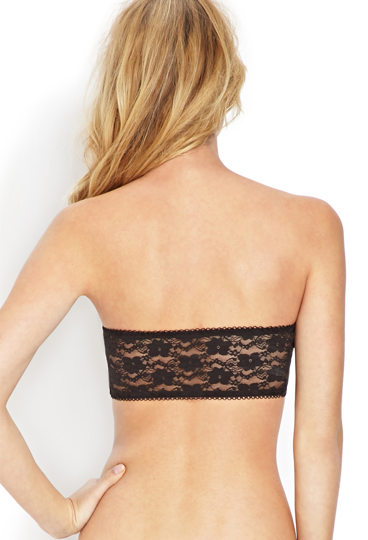 Forever 21 Lace Bandeau Bra in Black | Lyst