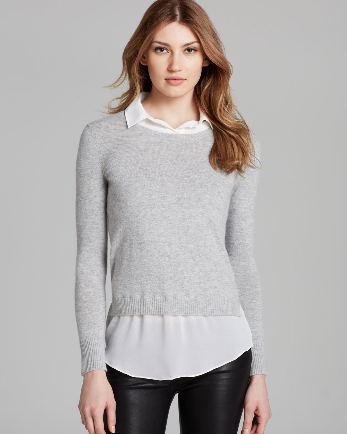 Dkny Pullover Sweater with Faux Shirt in Gray | Lyst