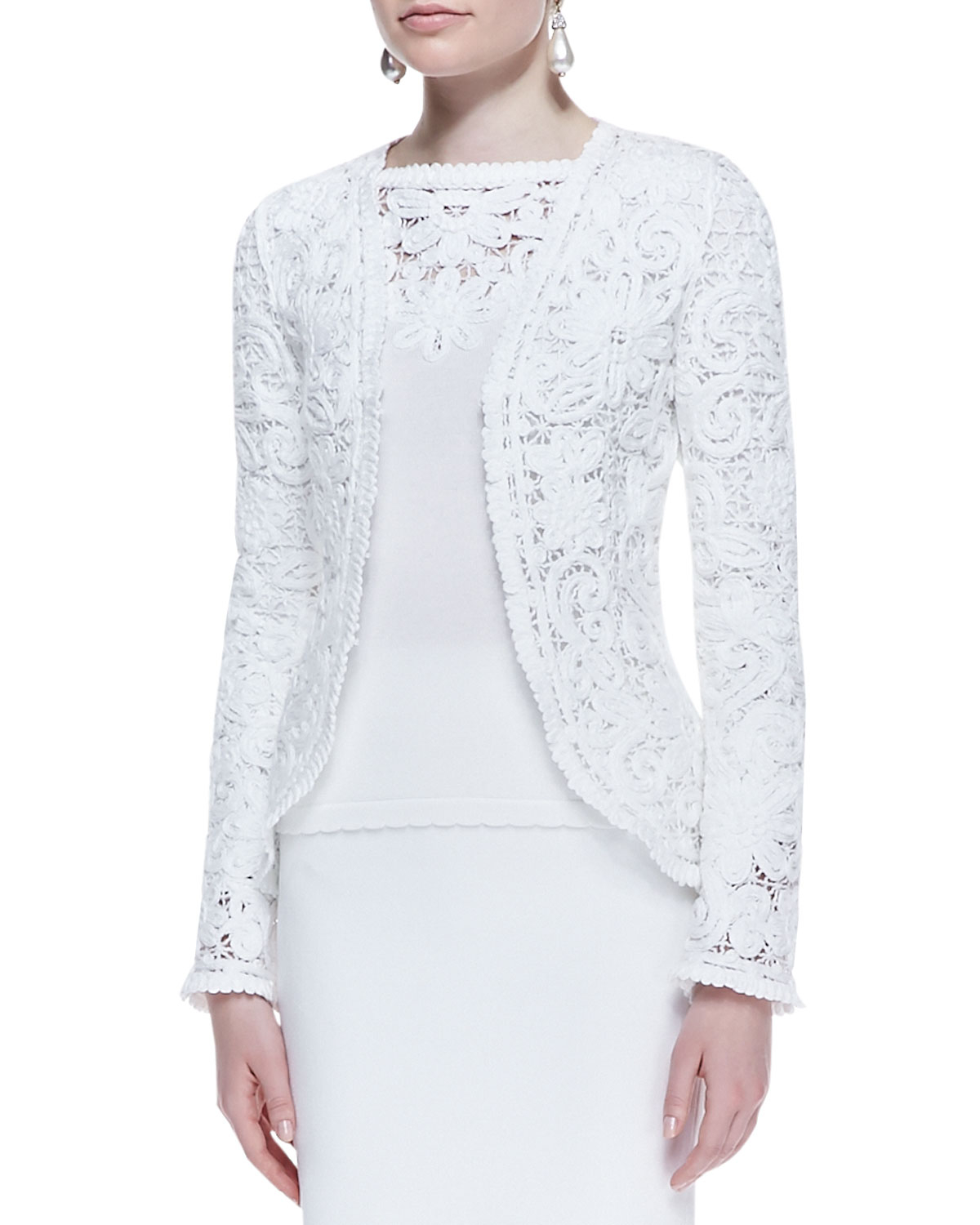 White Lace Jacket with Sleeves