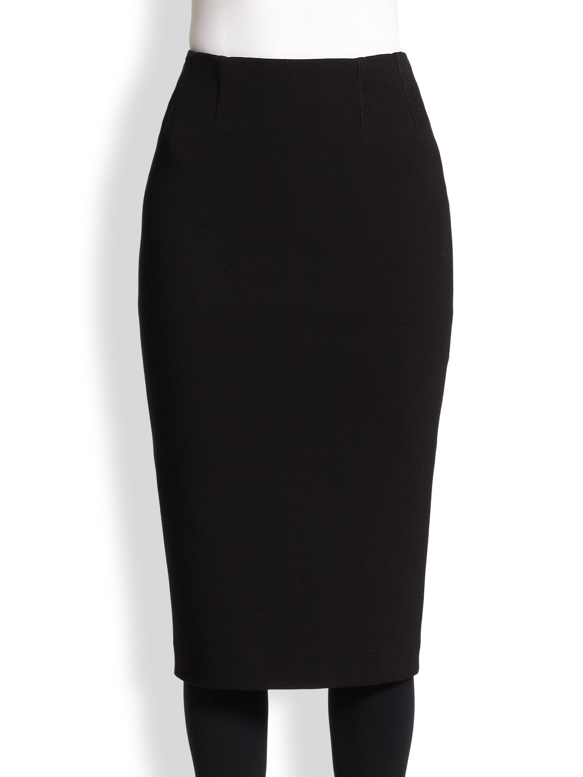 akris punto jersey pencil skirt in black lyst
