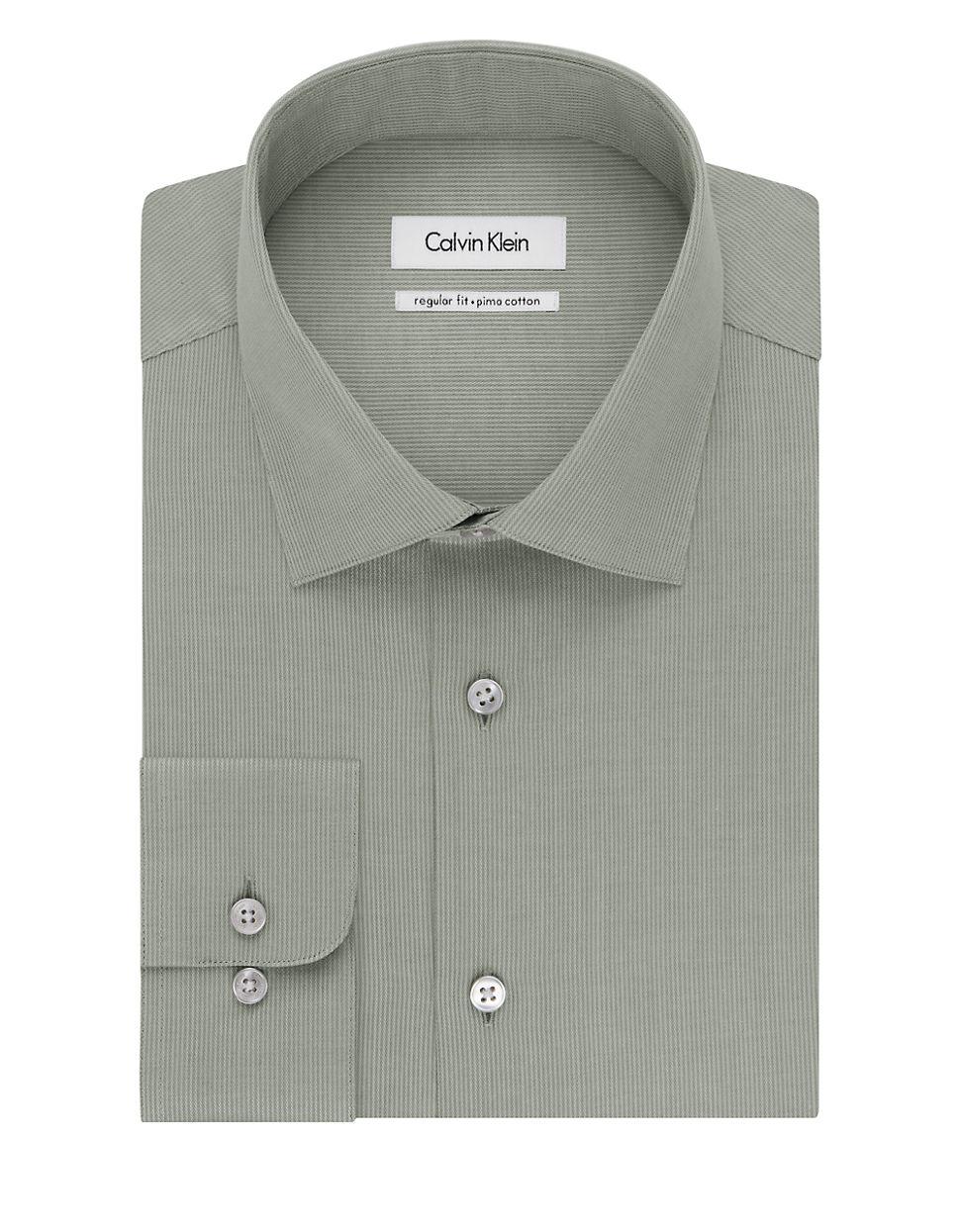 Calvin klein regular fit pima dress shirt in green for men for Regular fit dress shirt