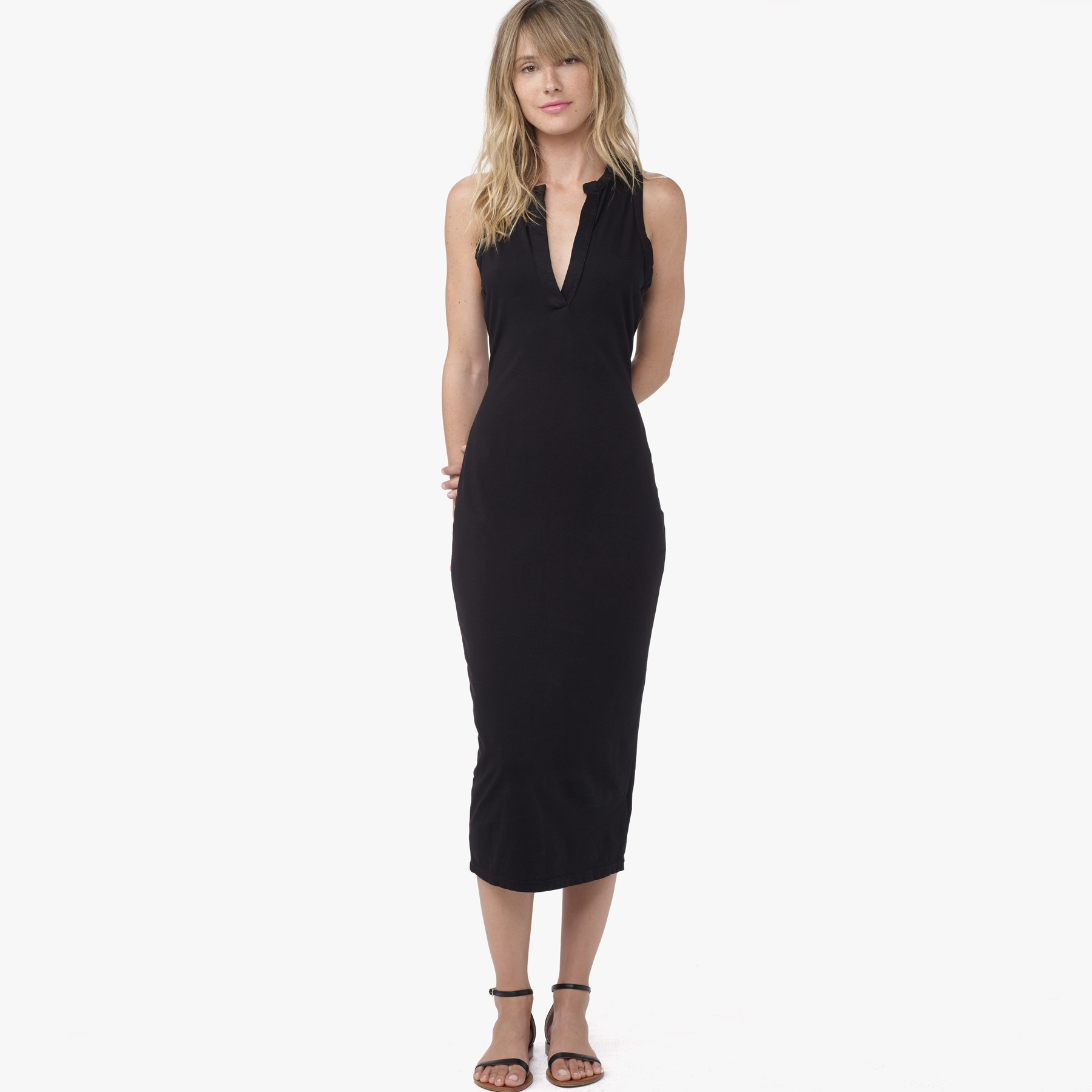 James perse open henley tank dress in black lyst for James perse henley shirt