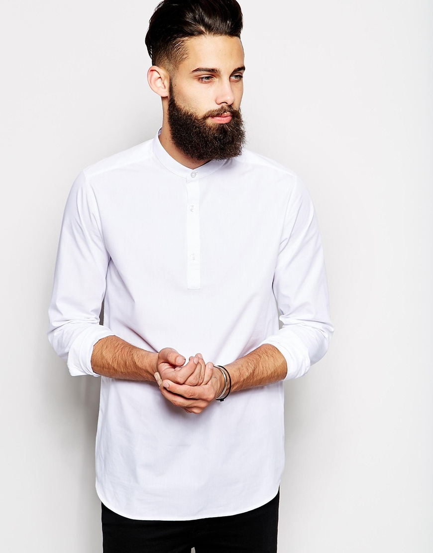 Asos Shirt In Long Sleeve With Grandad Collar And 3 4
