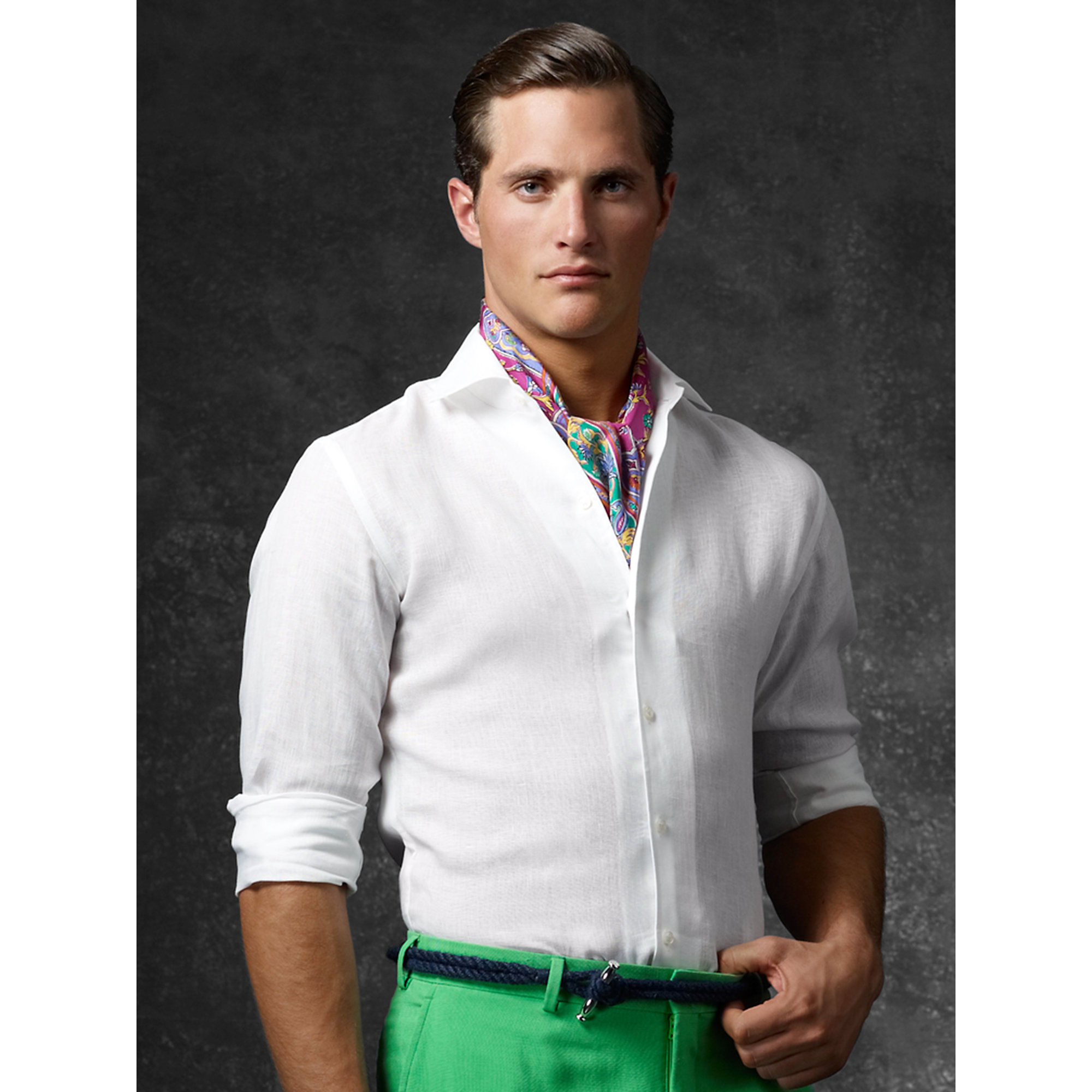 Lyst - Ralph Lauren Purple Label Tailored Linen Sport Shirt in White for Men