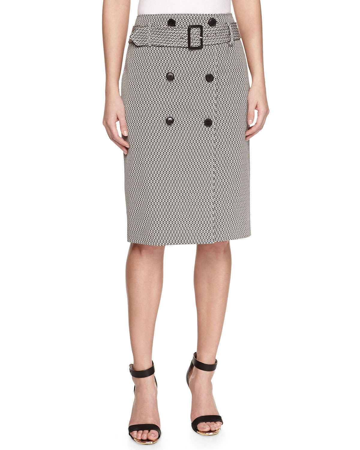 jason wu button front jacquard pencil skirt in black lyst