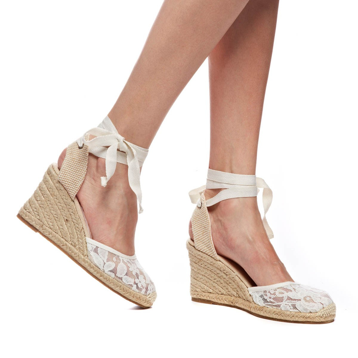 Soludos Chantilly Lace Tall Wedge In Natural Lyst