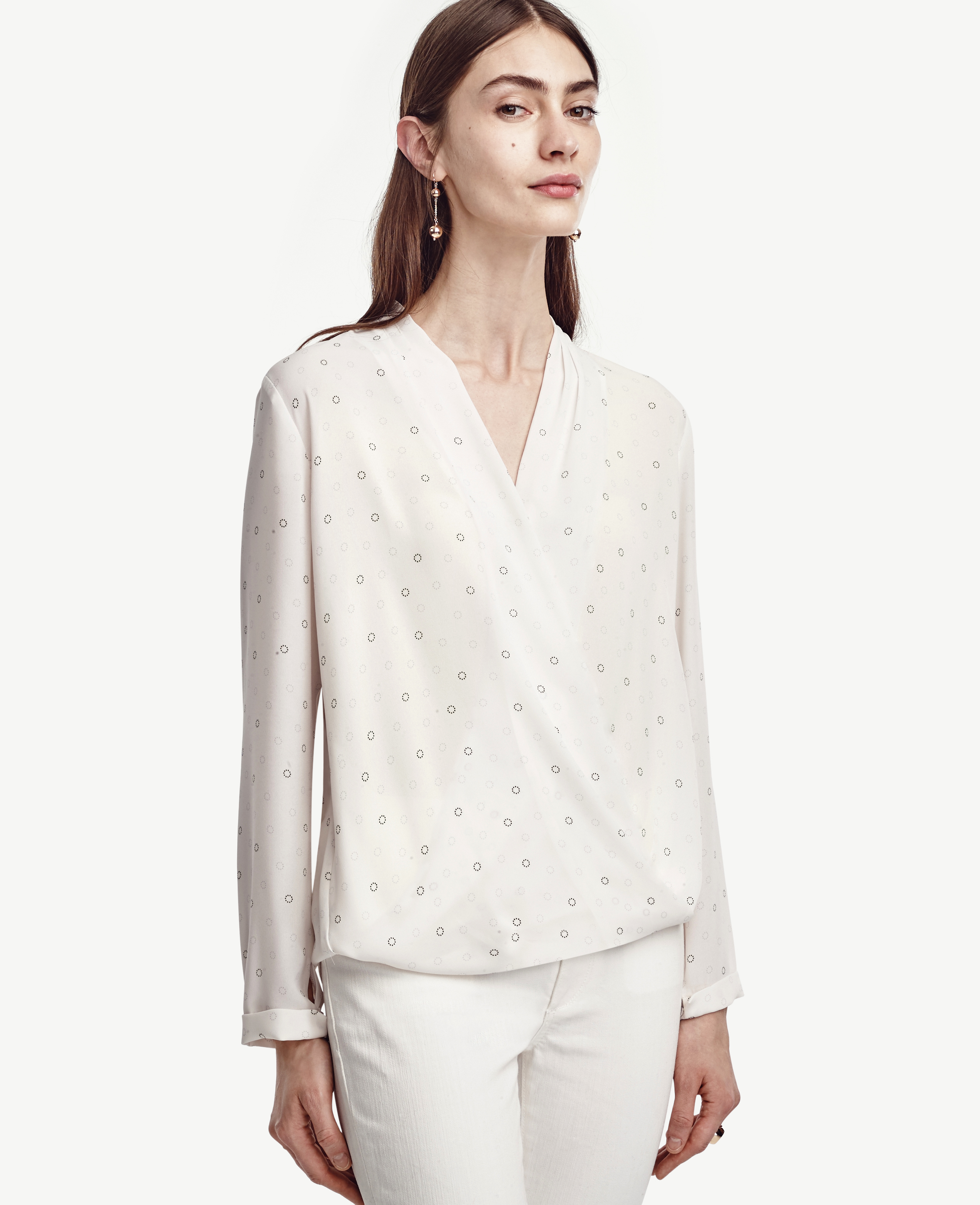 Ann taylor Ring Wrap Blouse in White | Lyst