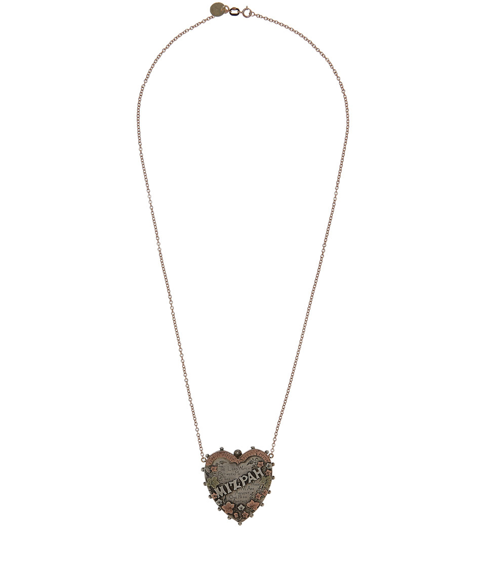 Lyst annina vogel silver heart mizpah necklace in metallic gallery aloadofball Image collections