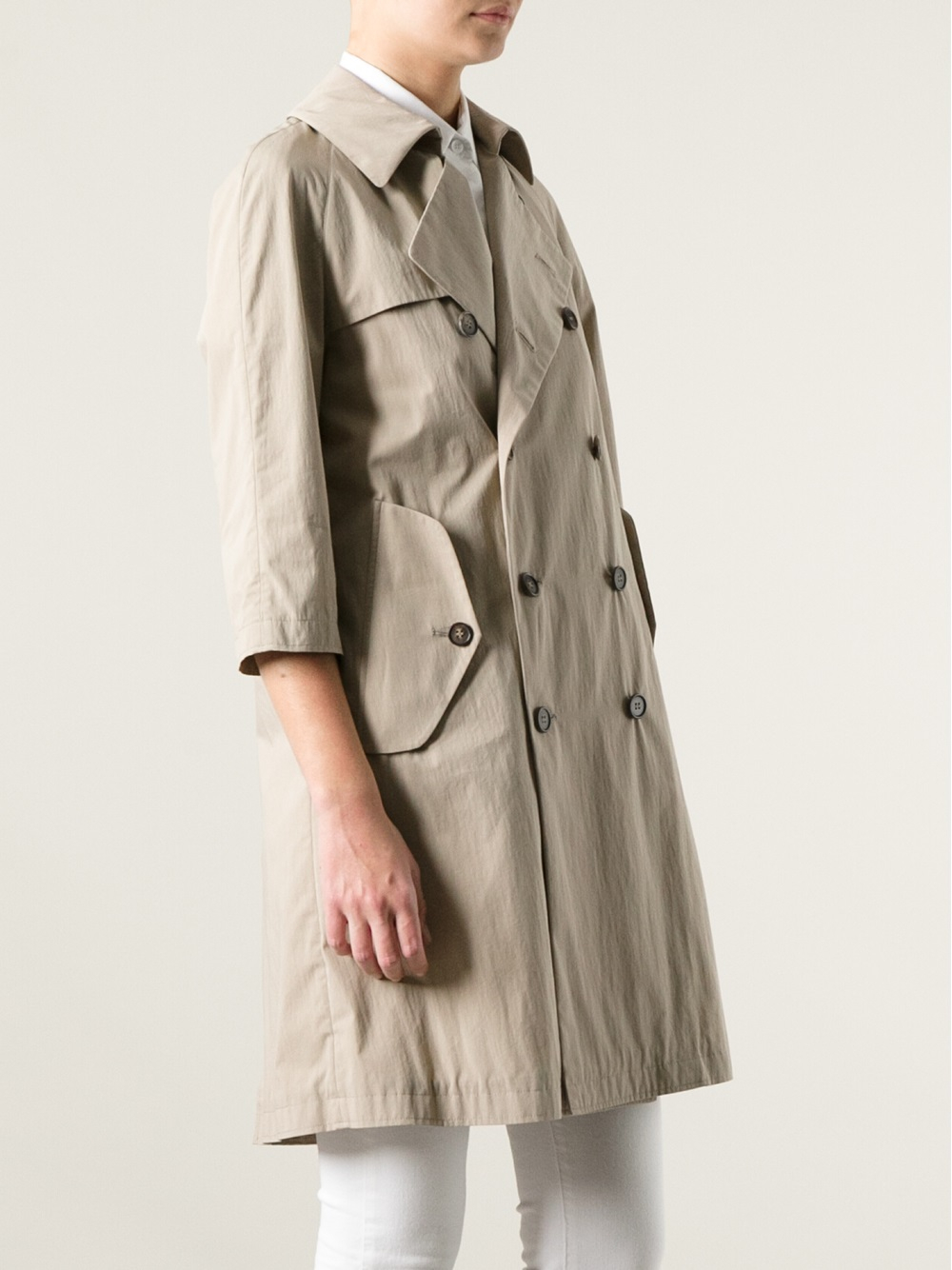 Lyst Marni Double Breasted Trench Coat In Natural