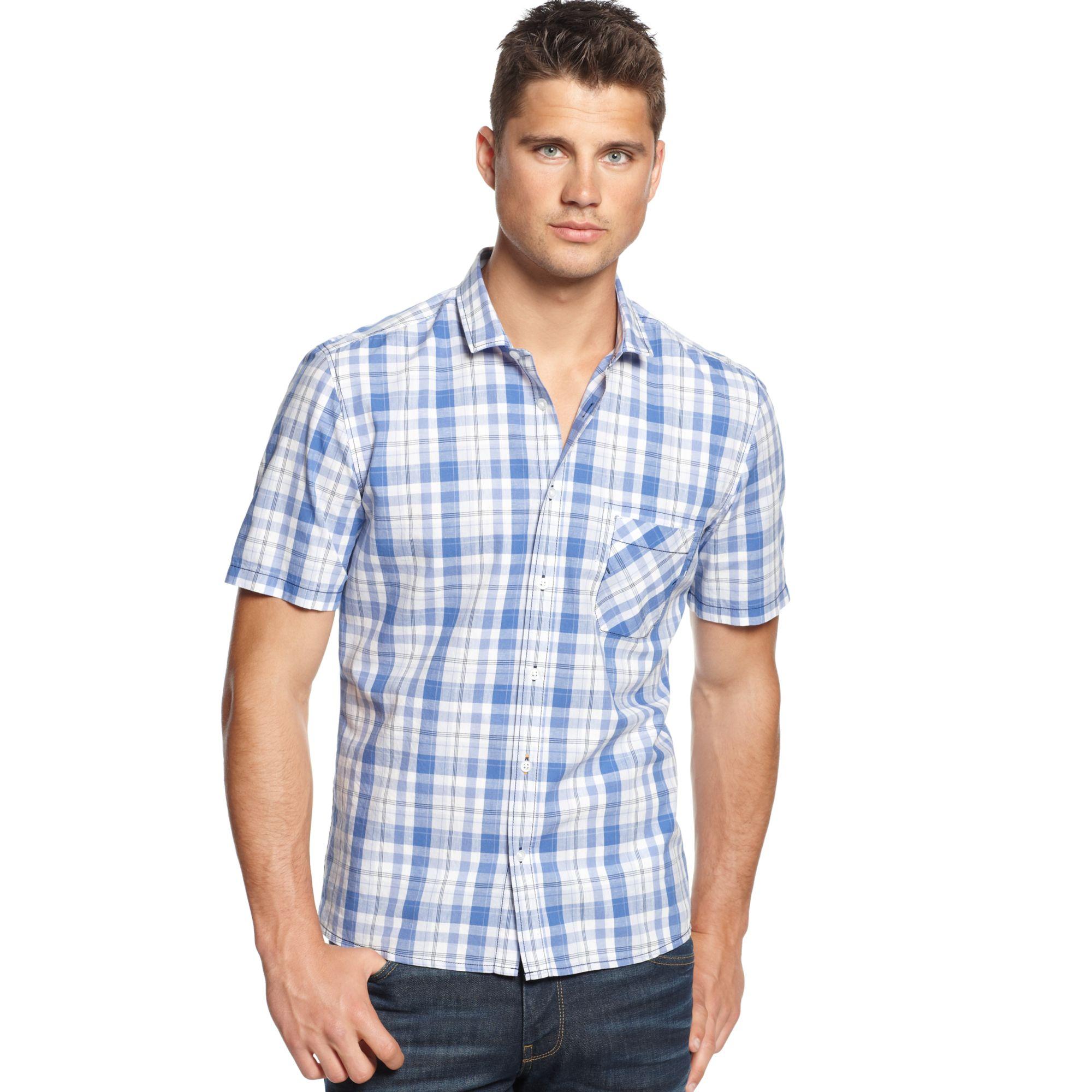 Hugo boss boss orange ezippoe plaid shirt in blue for men for Hugo boss dress shirt review