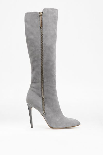 connection molly suede knee high boots in gray