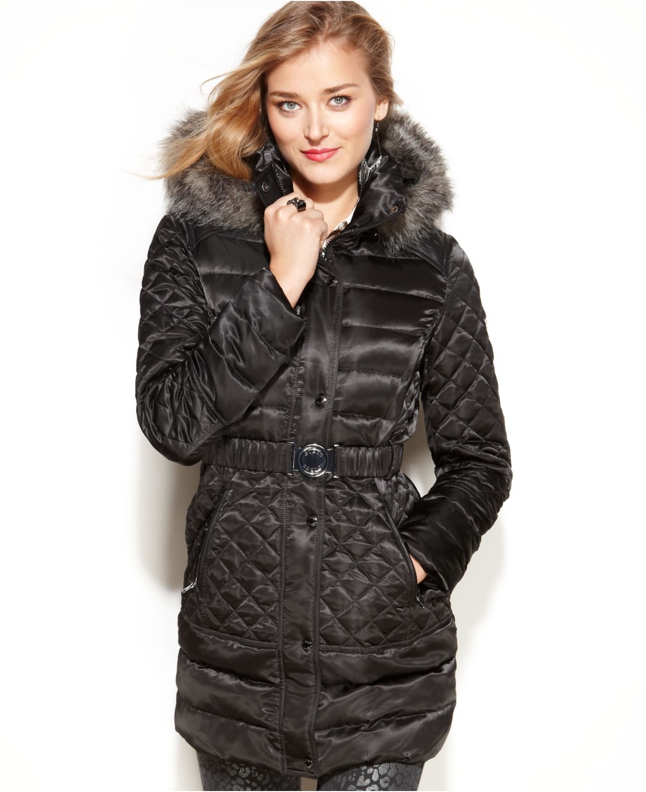 Lyst Guess Coat Hooded Faux Fur Trim Quilted Puffer In