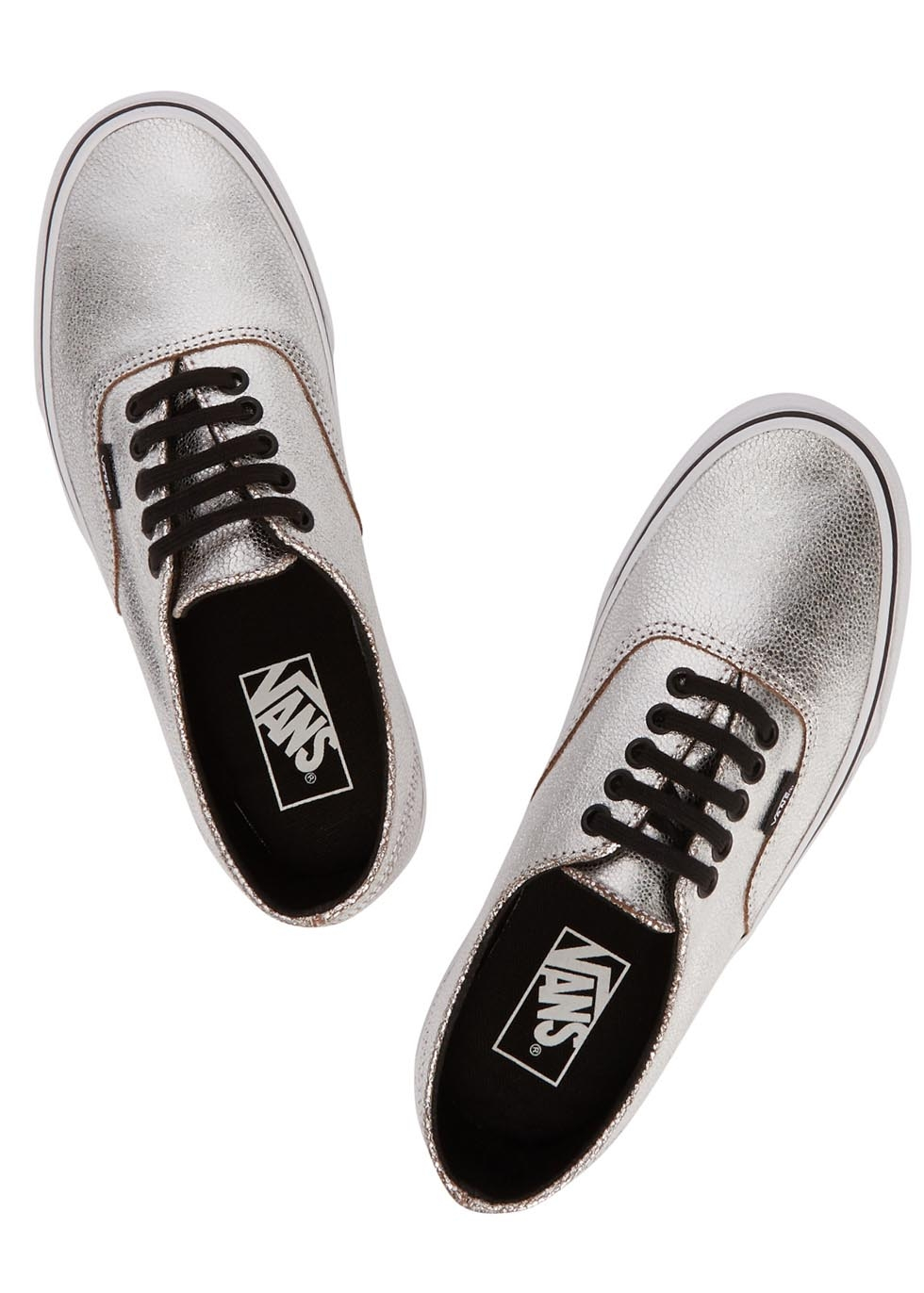 09a53648a8 Vans Authentic Decon Silver Leather Trainers in Metallic - Lyst