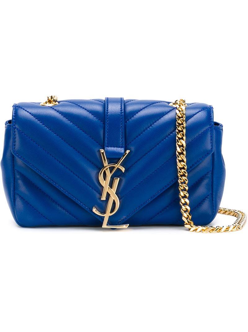 6a73f808ea6f Lyst - Saint Laurent Baby  monogram  Crossbody Bag in Blue
