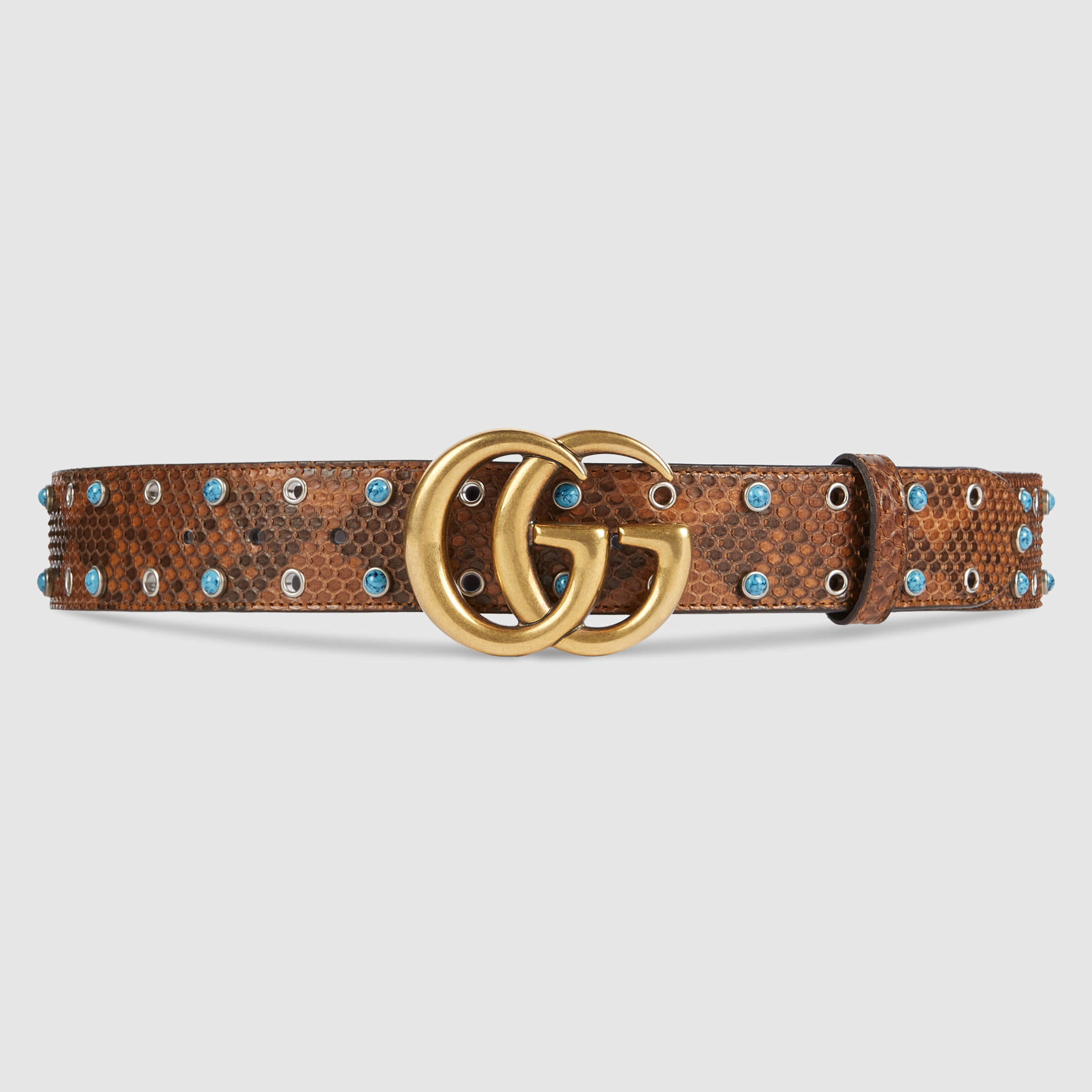 0a939c559d8 Gucci Python Belt With Double G Buckle - Lyst