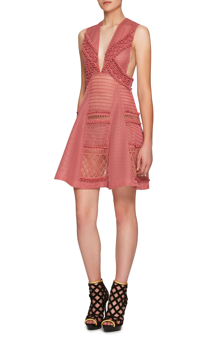 Burberry Pink Dress With Lace And Sport Mesh In Brown