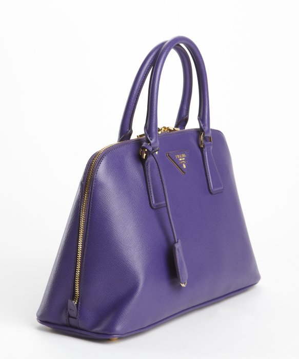 Prada Purple Saffiano Leather Double Zip Top Handle Handbag in ... - prada galleria bag marble gray + white + baltic blue