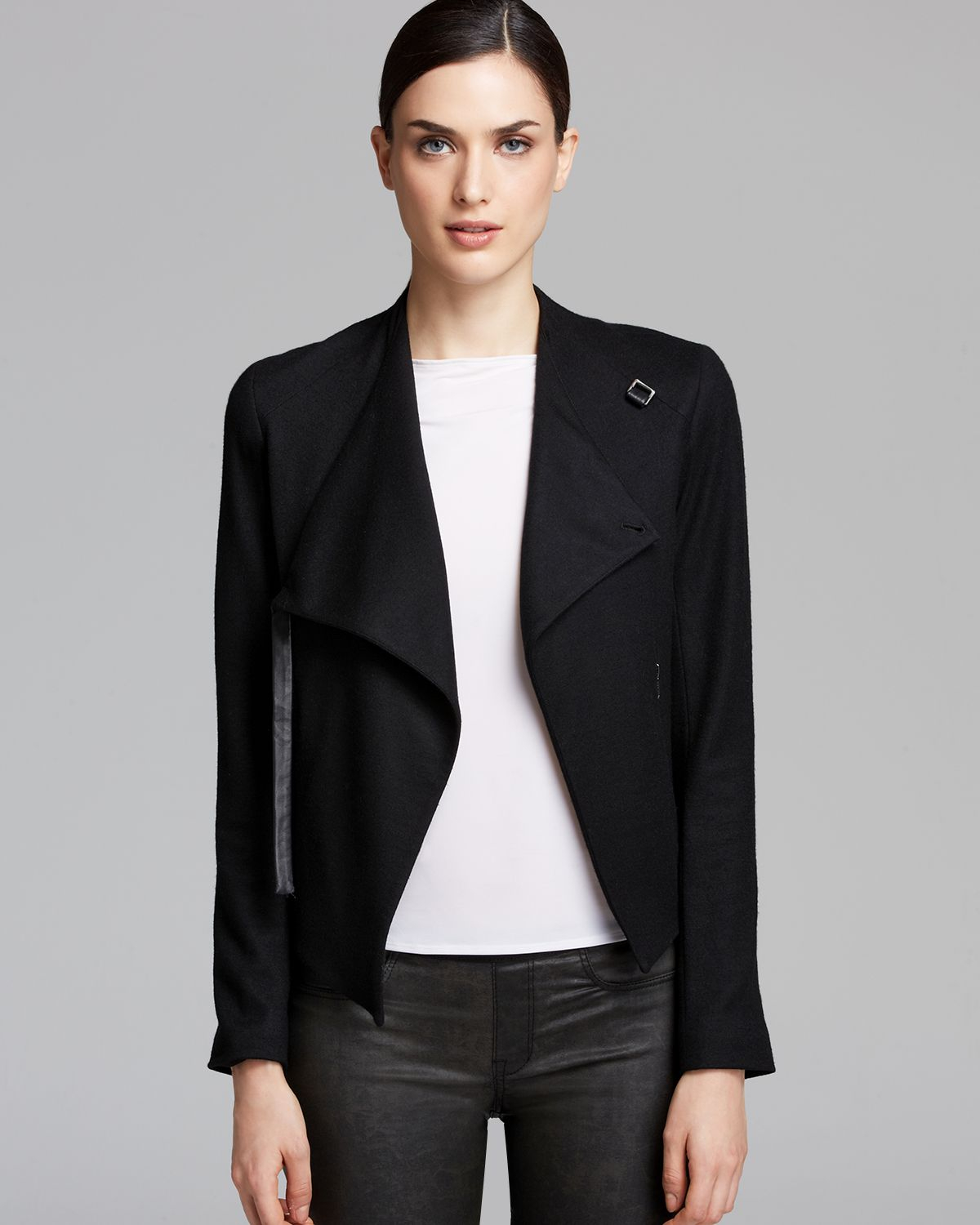 Helmut Lang Wool-Trimmed Leather Jacket Clearance For Nice Q3PIif6P