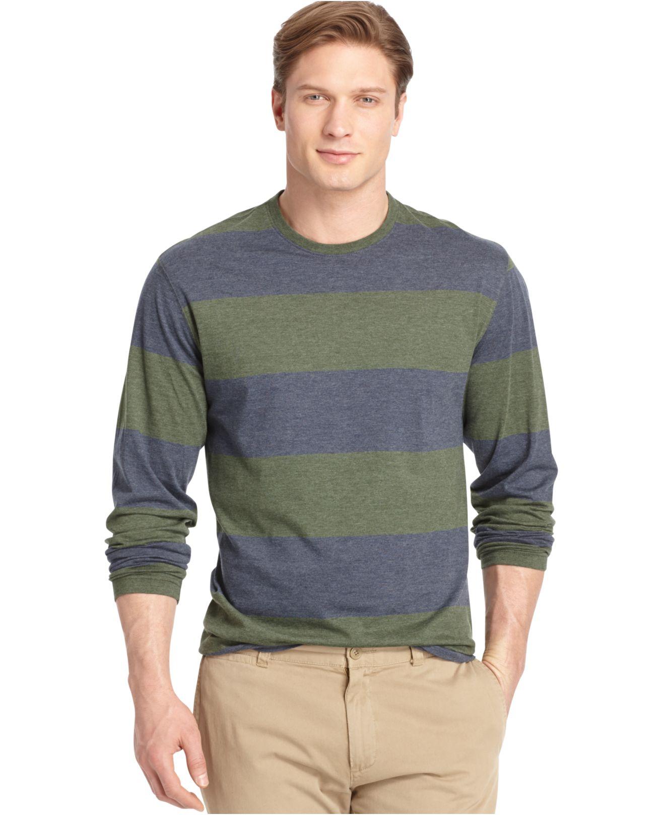 Izod Long-sleeve Striped T-shirt in Green for Men
