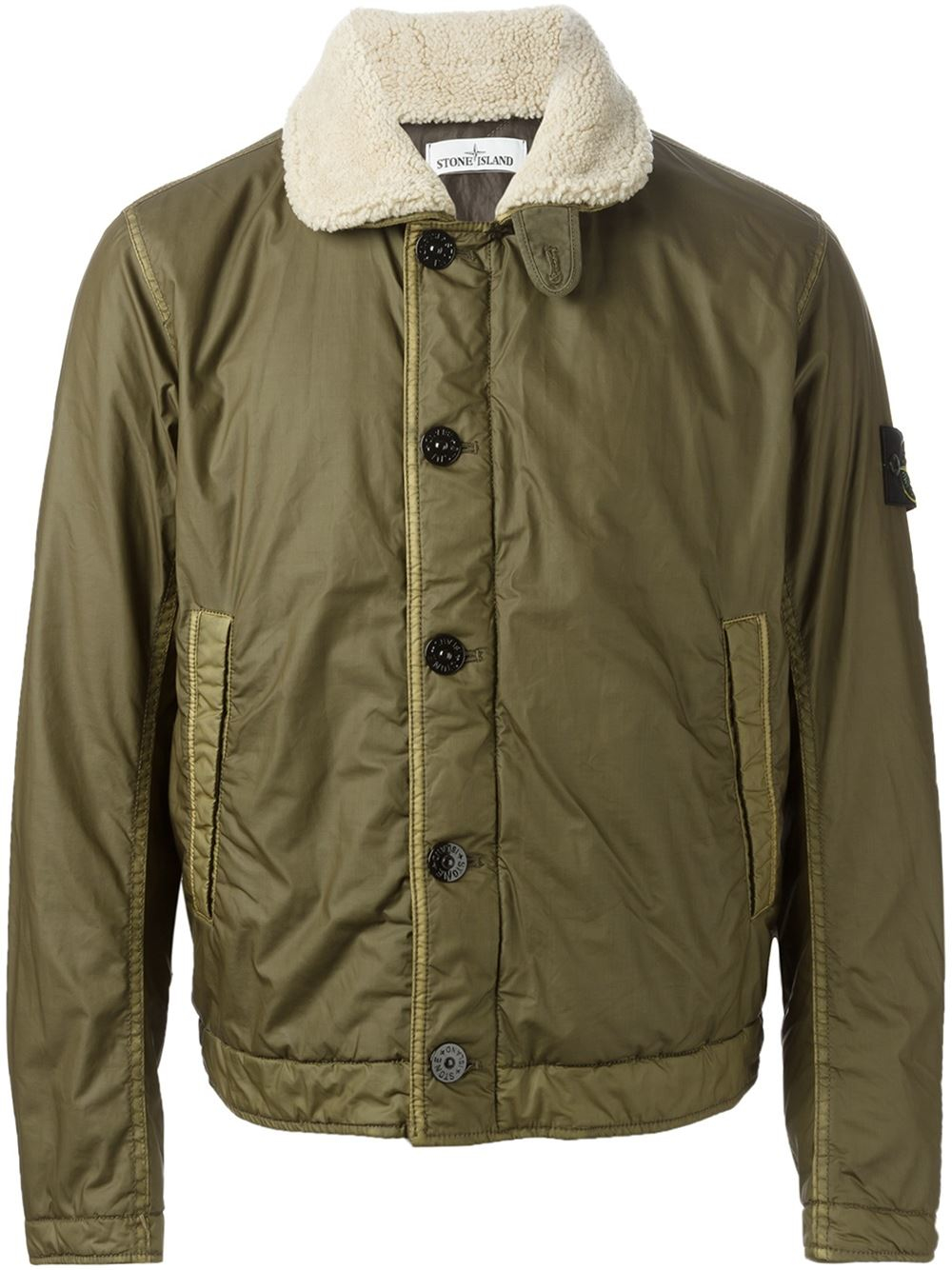 stone island faux fur collar bomber jacket in green for men lyst. Black Bedroom Furniture Sets. Home Design Ideas