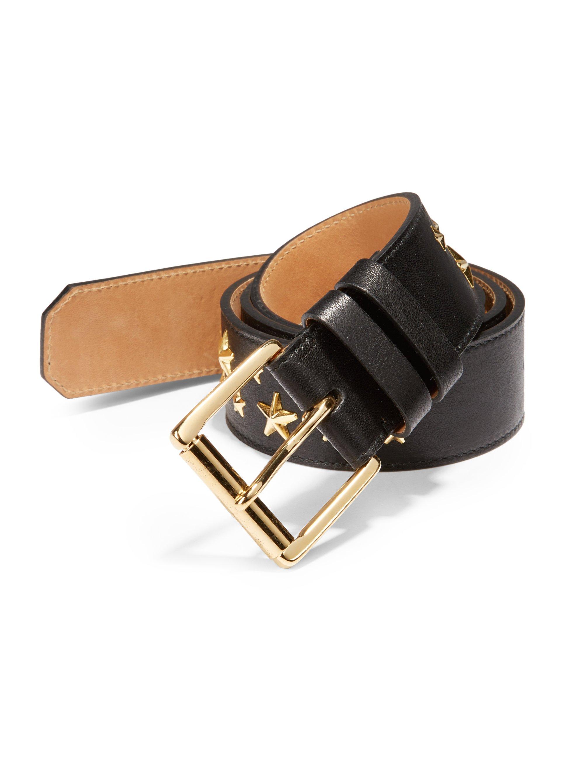 jimmy choo archer biker studded leather belt in black