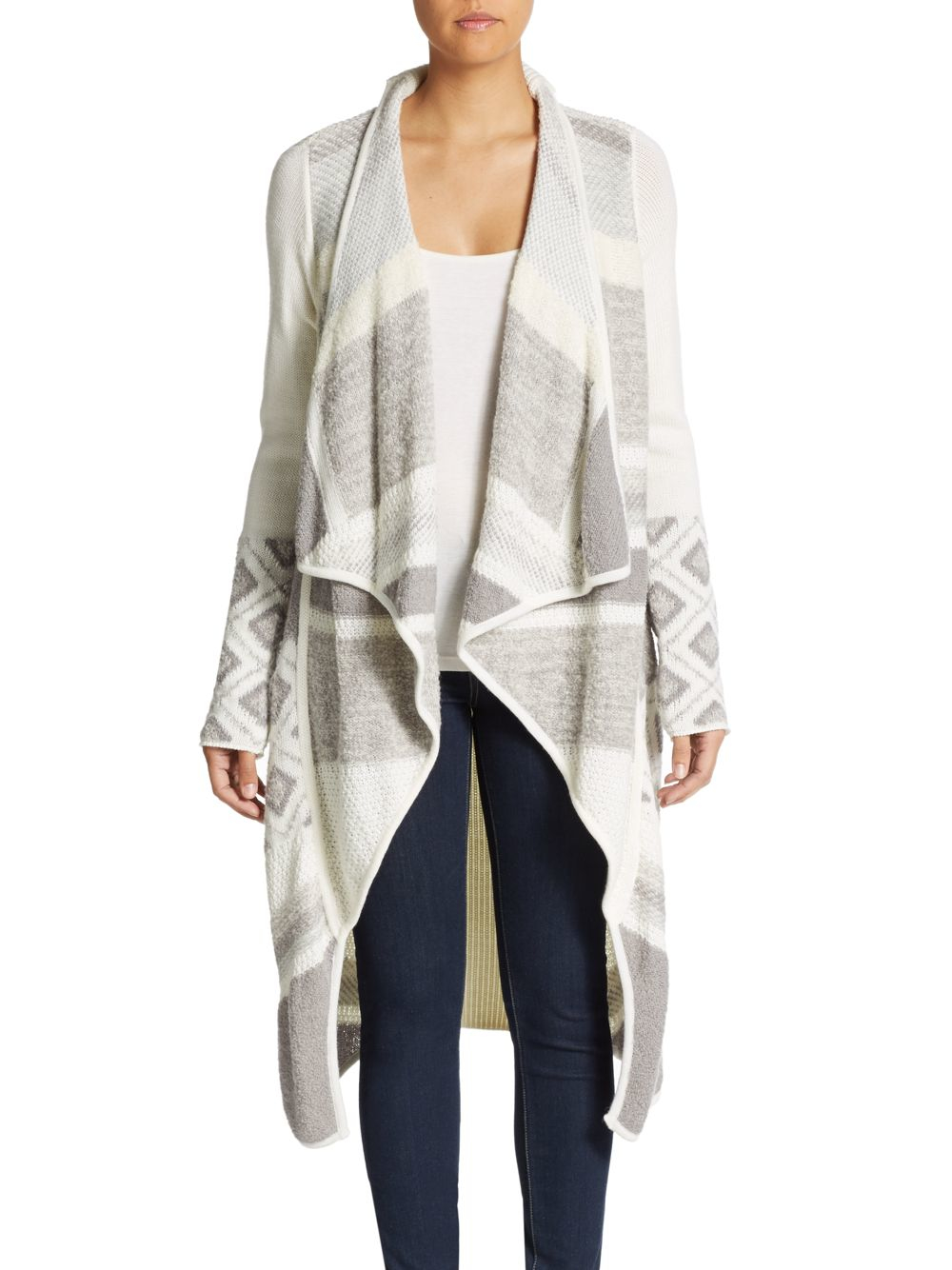 Vince Graphic Textured Sweater Coat in Natural | Lyst