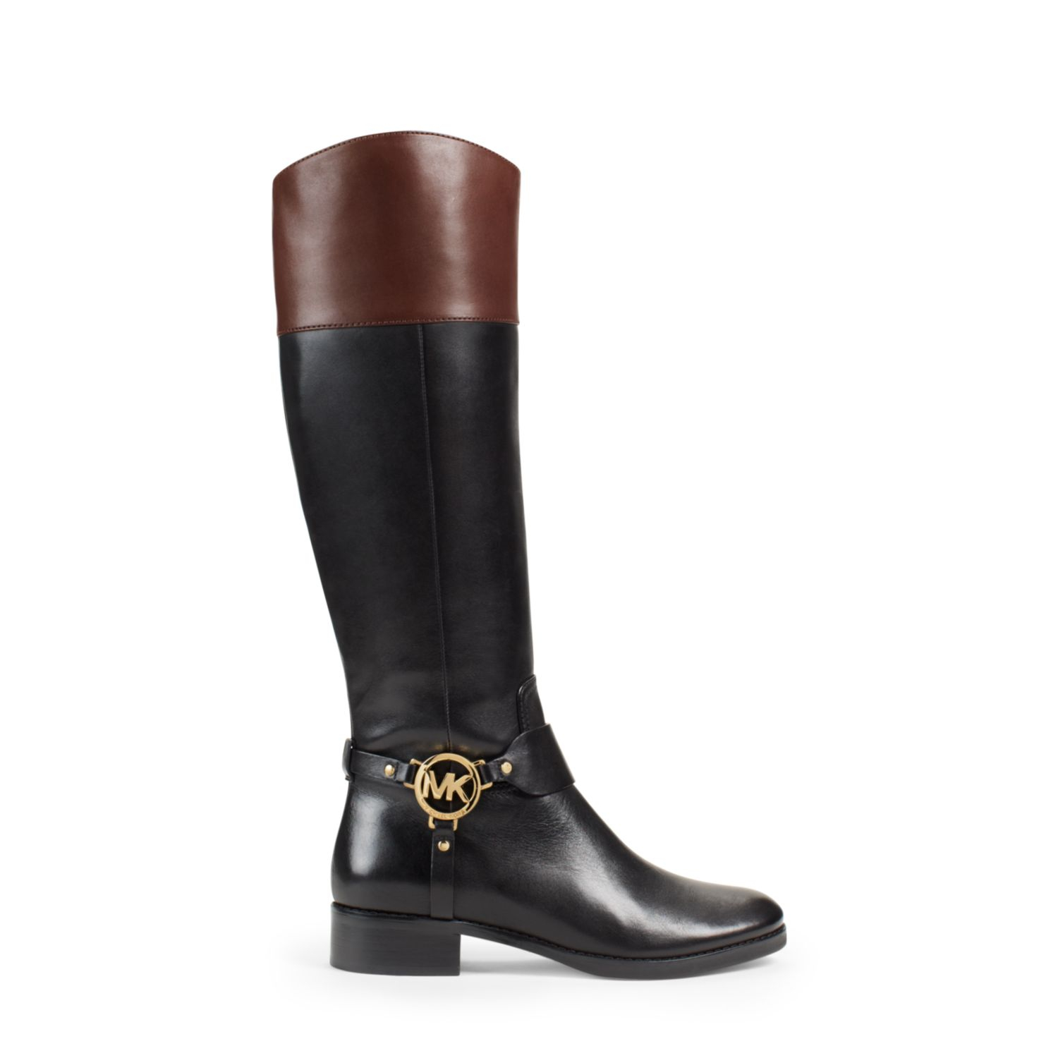 michael kors fulton leather boot in black black