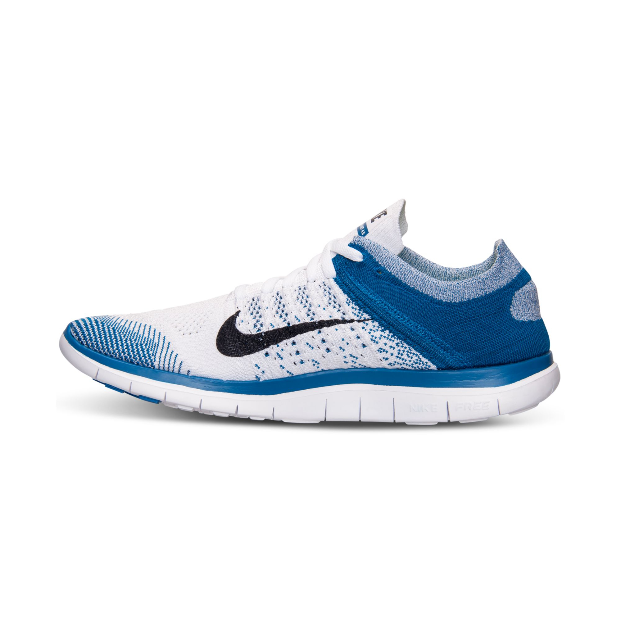 nike men 39 s free flyknit 4 0 running sneakers from finish line in blue for men lyst. Black Bedroom Furniture Sets. Home Design Ideas