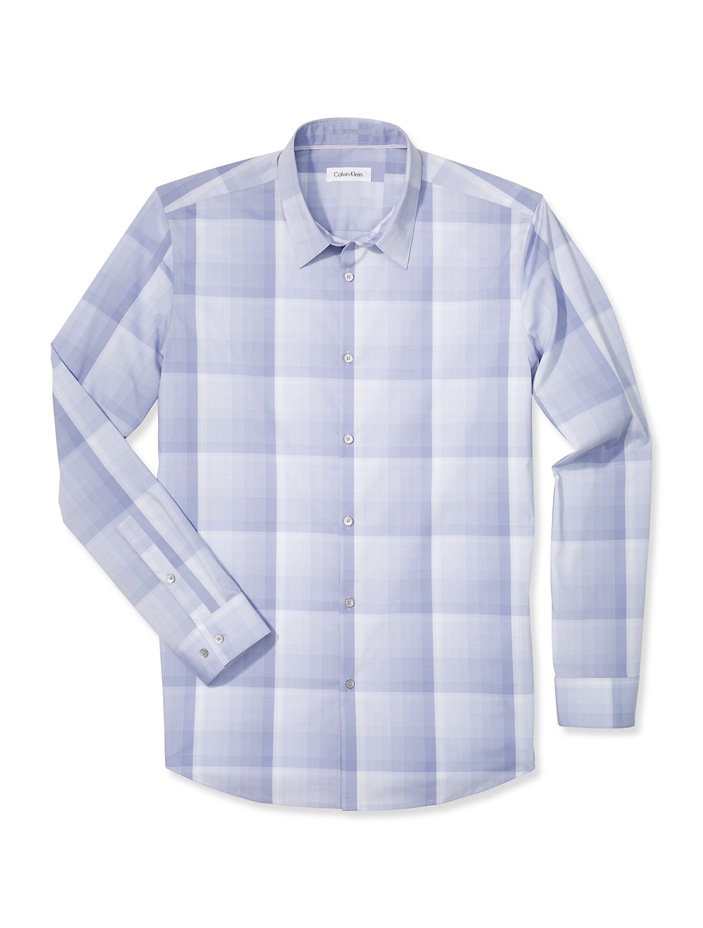 Lyst calvin klein white label body slim fit large plaid for Calvin klein slim fit stretch shirt