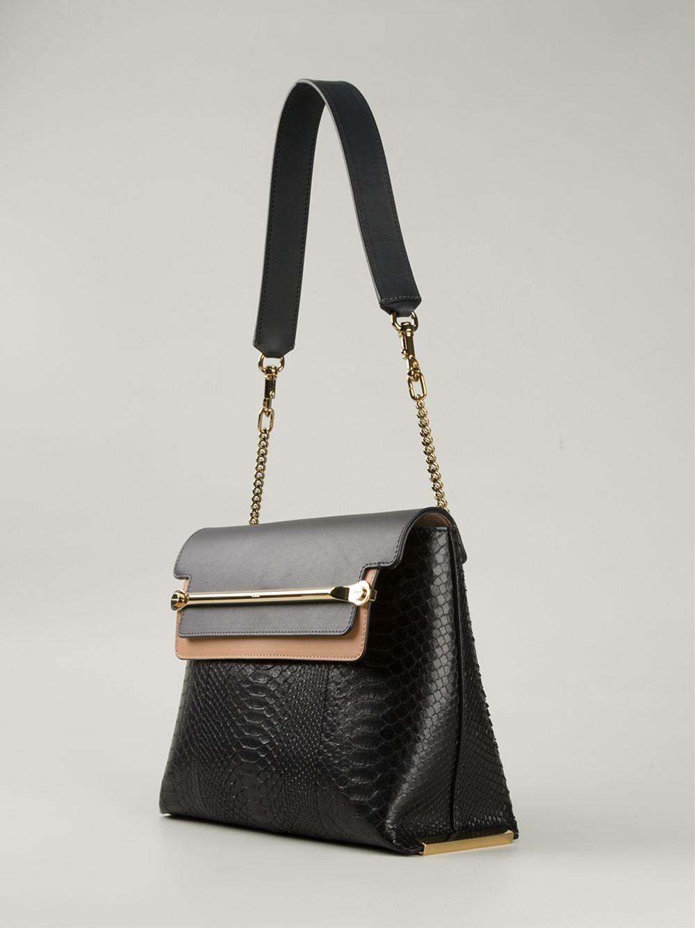 chloe marcie gray - Chlo�� Clare Python-Skin Shoulder Bag in Black | Lyst