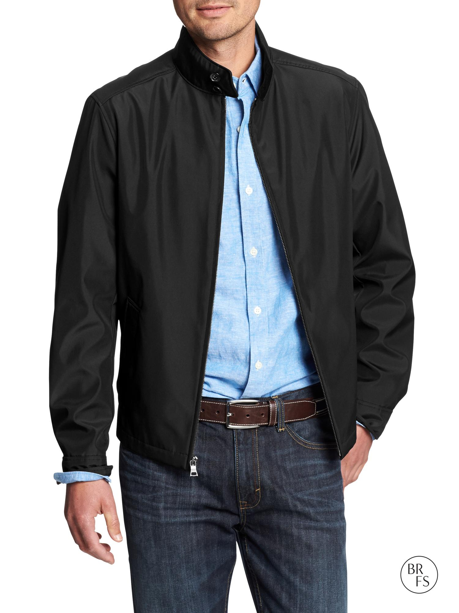 Banana Republic Factory Nylon Zip Jacket In Black For Men