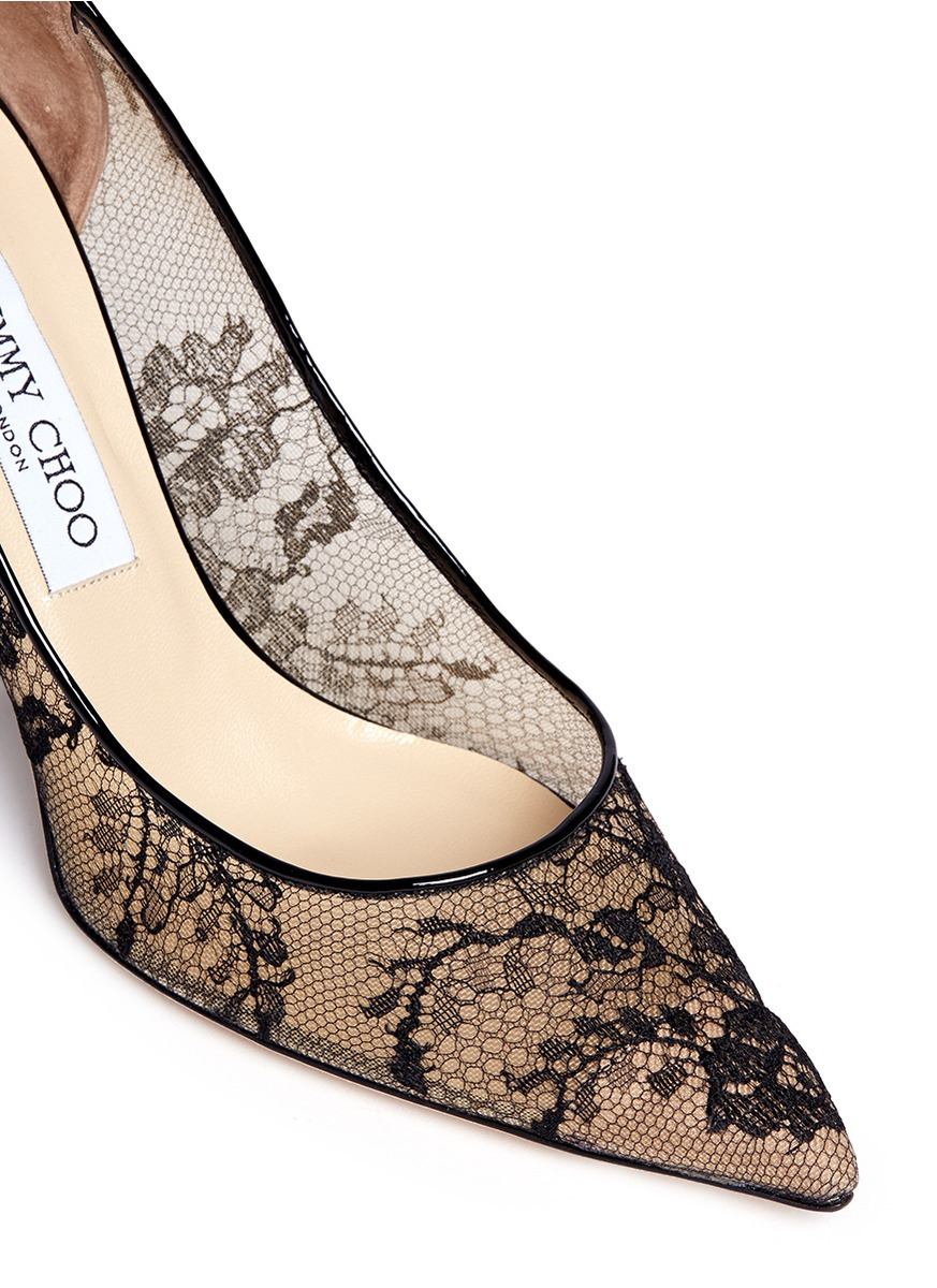 9f5ca514d9241 ... pointed toe pumps 2d13a 2387d  get lyst jimmy choo agnes floral lace  pumps in black ca6d7 fb5d0