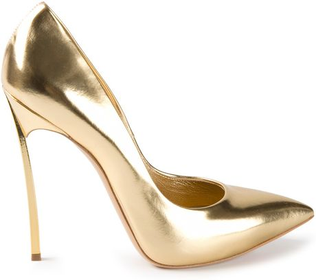 casadei high heel pumps in gold metallic lyst. Black Bedroom Furniture Sets. Home Design Ideas