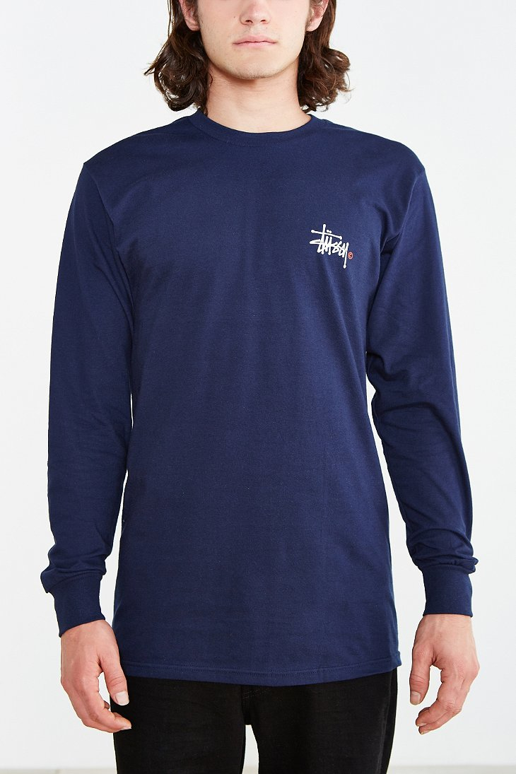 10ac769a2d3 Lyst - Stussy Basic Logo Long-sleeve Tee in Blue for Men