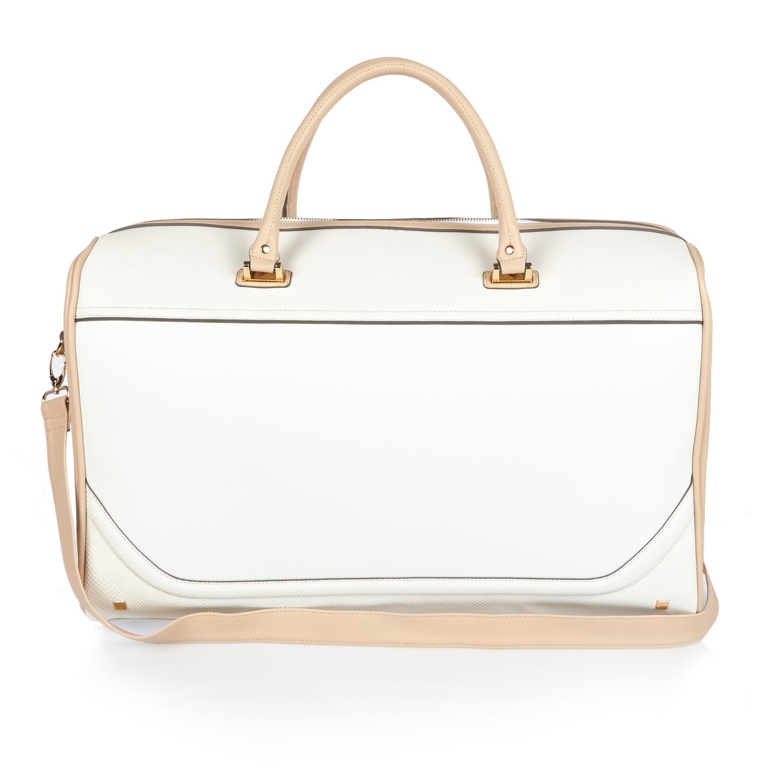 River island White Embroidered Weekend Bag in Natural | Lyst