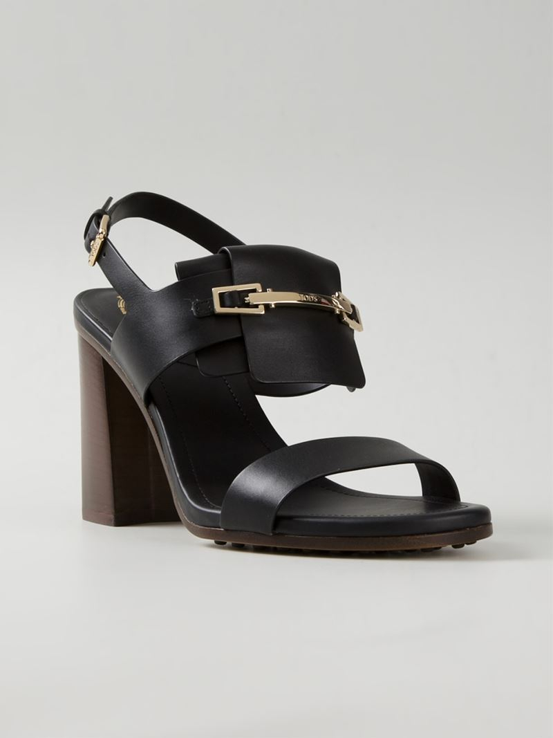 Tod's Chunky Heel Sandals in Black | Lyst