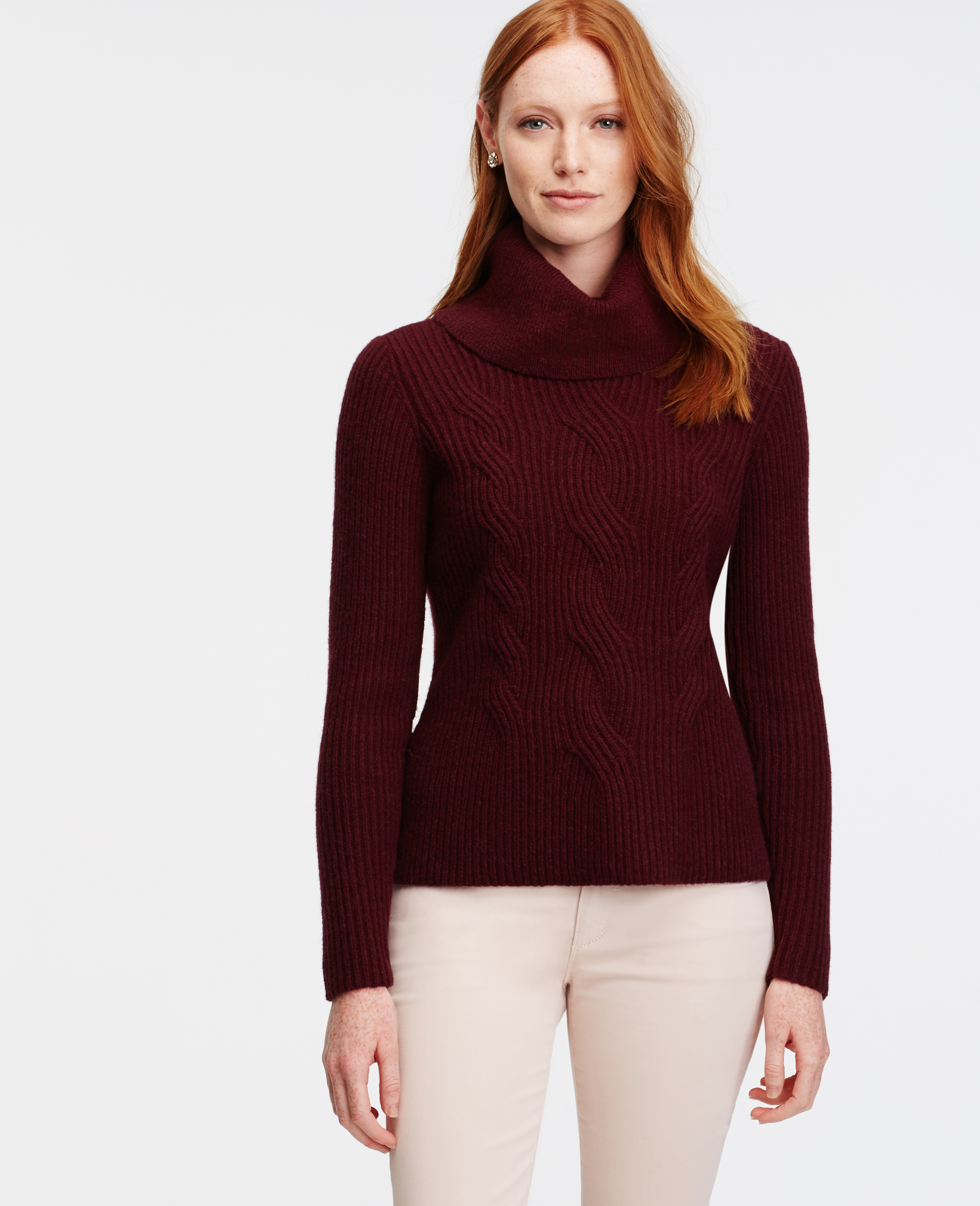 Ann taylor Cowl Neck Cable Sweater in Purple | Lyst